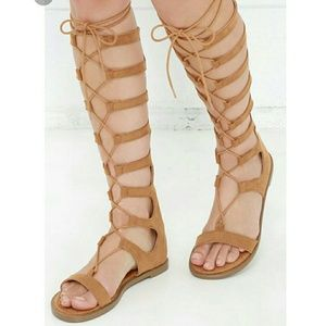 Chinese Laundry Tan Lace Up Gladiator Sandals